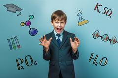teacher boy chemistry teenage student businessman fright gesture - stock photo