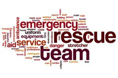 Rescue team word cloud concept - stock illustration