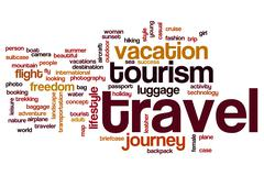 Travel word cloud concept - stock illustration