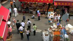 Local Market Street, Wan Chai, Central District. View from above. Tilting shot. - stock footage