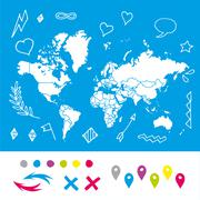 Hand drawn world map with pins and arrows vector design. Cartoon style atlas - stock illustration