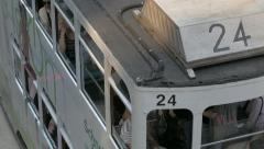 Double-decker tram in Hong Kong, Close-up view. Cinelike D flat picture profile. Stock Footage