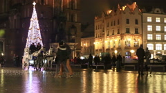 Carriage of horses in City Hall Square, Krakow Stock Footage