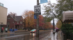 Toronto 30km/hr speed limit sign on residential street in urban areas Stock Footage