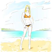 Woman On Summer Beach, Long Leg Blonde Sexy Girl Bikini Swimsuit - stock illustration