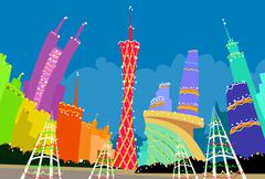 Guangzhou China Abstract Skyline City Skyscraper Christmas Silhouette New Year Stock Illustration