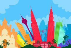 Kuala Lumpur Malaysia Abstract Skyline City Skyscraper Silhouette - stock illustration