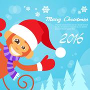 Monkey Happy Smile Wear Santa Hat New Year Sign Asian Horoscope Merry Christmas - stock illustration