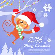 Monkey Happy Smile Wear Santa Hat New Year Sign Asian Horoscope Merry Christmas - stock illustration
