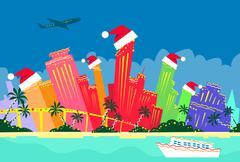 Miami Florida United States Abstract Skyline City Skyscraper Christmas - stock illustration