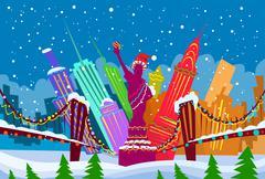 New York Skyline City Skyscraper Christmas Silhouette Year - stock illustration