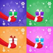Merry Christmas Santa Claus Hands Hold Gift Box Greeting Card New Year Present - stock illustration