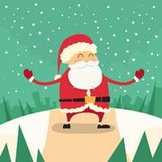 Stock Illustration of Santa Claus Happy Standing Winter Snow Forest Road Christmas Holiday