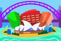 Sydney Abstract Skyline City Skyscraper Silhouette - stock illustration