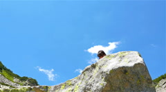 Low angle shot of a tourist woman on a rock in the mountain outstretching arms Stock Footage