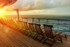 Cruise Ship Wooden Deck Chairs. Stock Photos