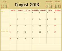 Year 2016 August Planner - stock illustration