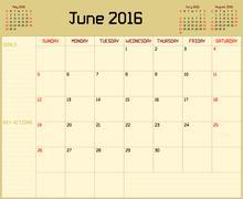 Year 2016 June Planner - stock illustration