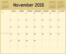Year 2016 November Planner - stock illustration