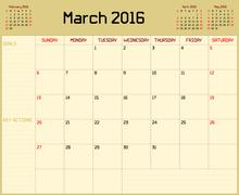 Year 2016 March Planner - stock illustration