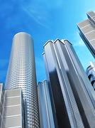 Skyscrapers on blue sky background Piirros