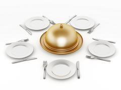 Dinner plates, forks and knifes - stock illustration