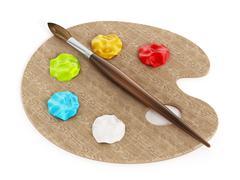 Palette, paints and paintbrush Stock Illustration