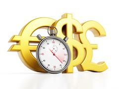 Chronometer and currency symbols - stock illustration