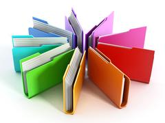 Folders arranged in circular shape Stock Illustration