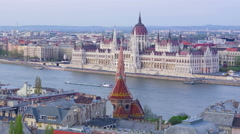 Budapest and Danube river in a sunset time Stock Footage