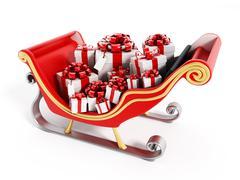 Santa's sleigh full of presents Stock Illustration