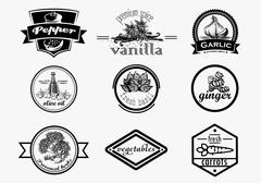 Spice logo set in vintage style. Vector hand drawn spice logotypes collection - stock illustration