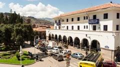Stock Video Footage of Cusco Plaza Regocijo Day Time Lapse 4K, Peru