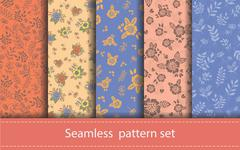 Stock Illustration of Vector set of seamless floral patterns. Decorative flowers and design elements