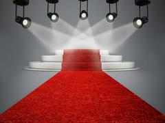 Stock Illustration of Red carpet leading to the stage illuminated by spotlights