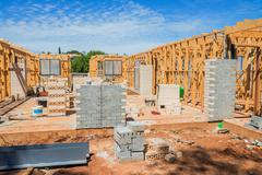 New home construction framing. - stock photo