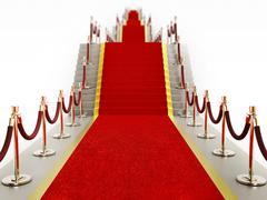 Red carpet and velvet ropes leading to the staircase Stock Illustration