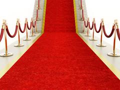 Red carpet and velvet ropes leading to the staircase - stock illustration