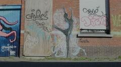 Graffiti Ballet Ballerina Figure on Building - Editorial - 25FPS PAL Stock Footage