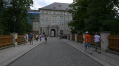 Walking on Powder Bridge in the Prague Castle Complex Stock Footage