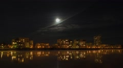 Timelapse 4K, city lights, moon and clouds, Skandinavia Stock Footage