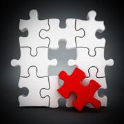 Puzzle with one red part missing - stock illustration