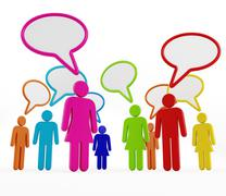 Multi-colored people with speech balloons Stock Illustration