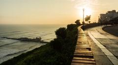 Lima Miraflores Coastal Sunset Time Lapse 4K, Peru Stock Footage