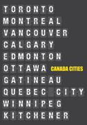 Names of Canadian Cities on Split flap Flip Board Display Stock Illustration