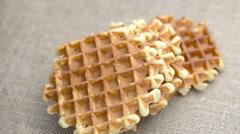 Freshly belgian waffles Stock Footage