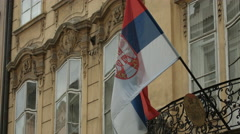 The Republic of Serbia flag in Prague Stock Footage