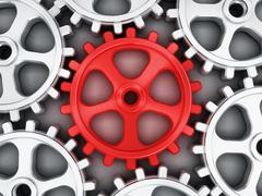 Red gear part - stock illustration