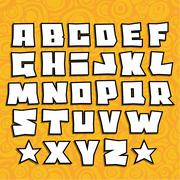 Stock Illustration of graffiti fonts alphabet with shadow on orange background