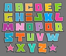 Stock Illustration of graffiti floating vector color fonts alphabet over gray